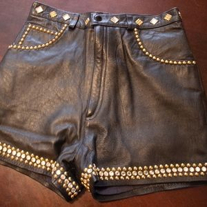Bedazzled Leather Shorts